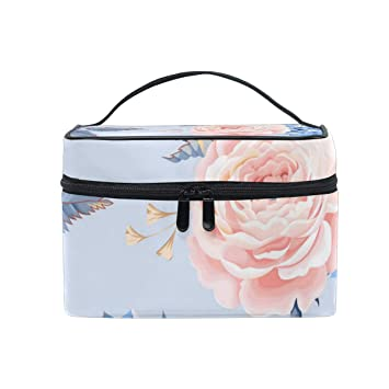 243af25bc0ec Amazon.com : Pink Cute Rose Christmas Gift Retro Cosmetic Bag Light ...