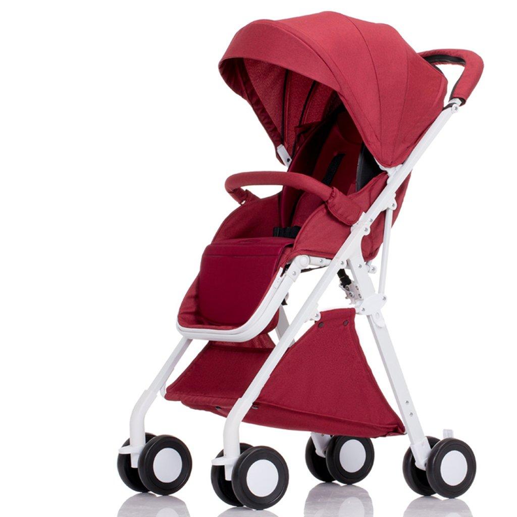 赤ちゃんのベビーカーはリクライニング軽量折りたたみ小型四輪ポータブルミニベビー傘(青)(グレー)(ピンク)(赤)55 * 40 * 105センチメートル ( Color : Red ) B07BT5H8N1