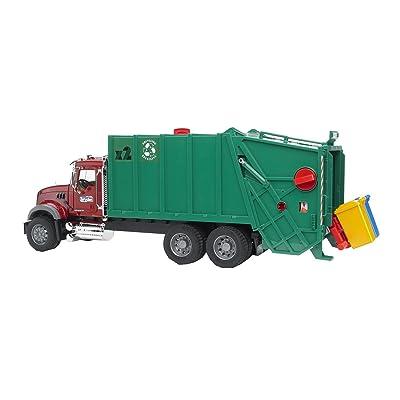 Bruder 02812 Mack Granite Rear Loading Garbage Truck (Ruby Red Green): Toys & Games