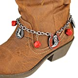 Boot Chain ~ Boot Bracelet ~ Red Cowboy Boot Horseshoe W Red Beads Boot Charm Anklet (Boot Charm 002h)
