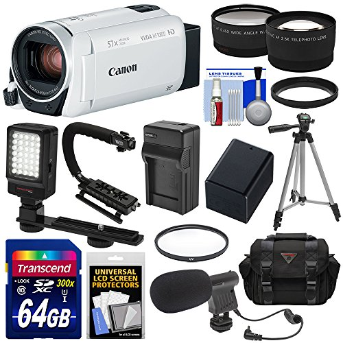 Canon Vixia HF R800 1080p HD Video Camera Camcorder (White) with 64GB Card + Battery & Charger + Case + Tripod + Stabilizer + LED + Mic + 2 Lens Kit - Image Stabilizer Kit