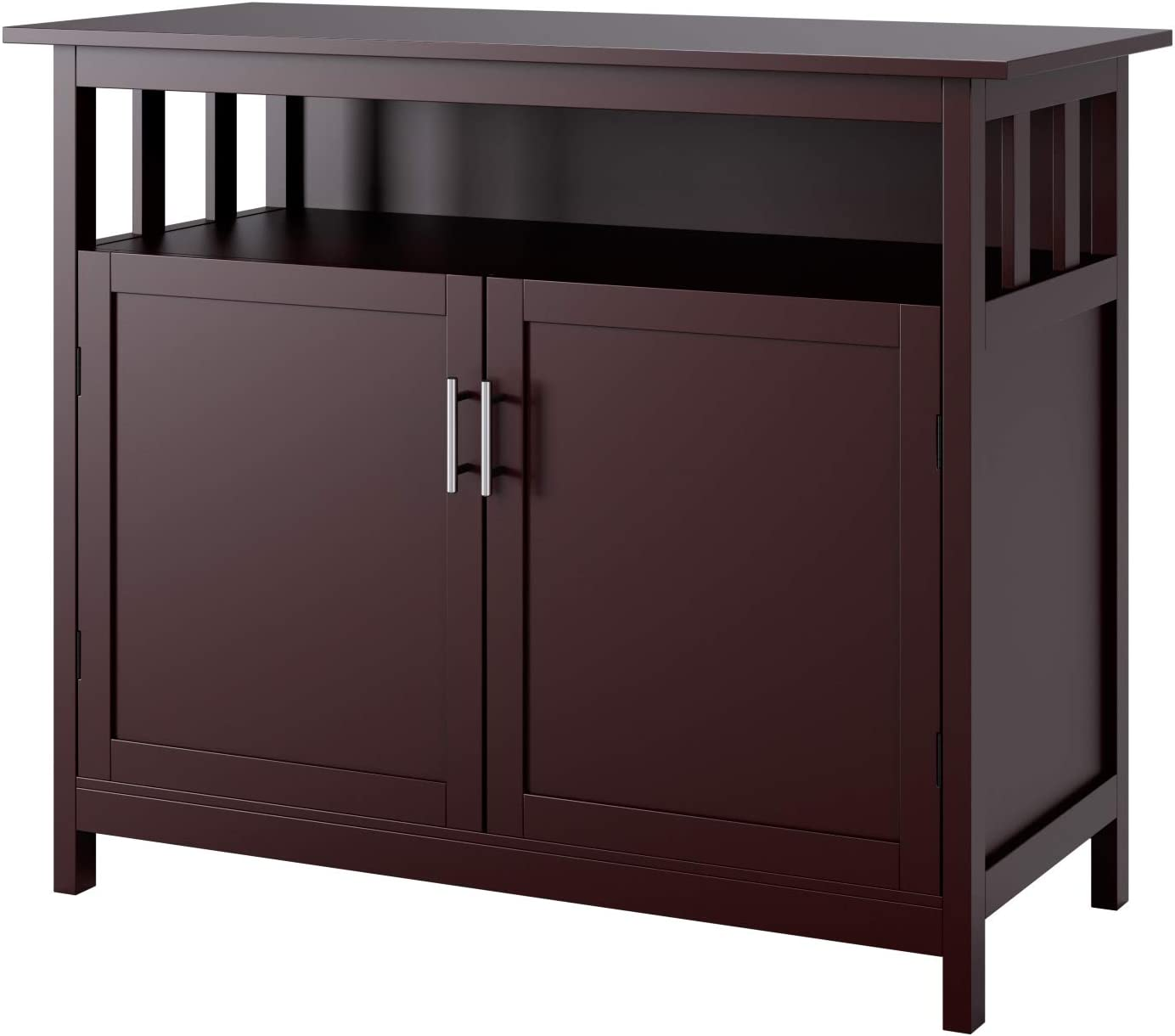 Homfa Kitchen Sideboard Storage Cabinet, Large Dining Buffet Server Cupboard Cabinet, Console Table with Display Shelf and Double Doors, Idea for Kitchen and Dining (Dark Brown)