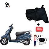 Somaksh Dust Proof Water Resistant Bike Body Cover for Universal for Honda Activa 5G, Activa 4G, TVS Jupiter, Honda DIO,Yamaha Fascino,Hero Maestro, Suzuki Access 125 with Double Mirror Pocket And Over Lock Protection (Black)