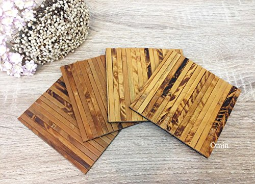 Omin Natural Bamboo Coasters Cup Mat Square Shape 4 Inch Set of 4
