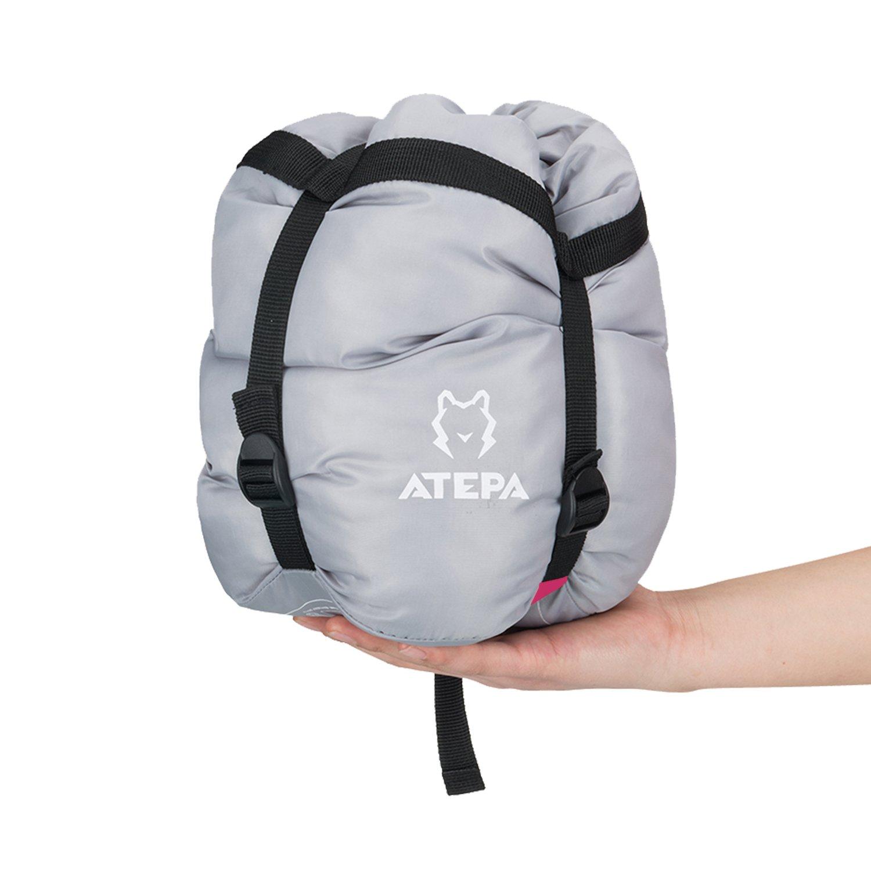 ATEPA(アテパ) 寝袋 シュラフ 丸洗い 連結可能 封筒型 左側型ファスナー 軽量 コンパック 防水 保温 速乾 5℃-15℃ 全3色 AS2003 (赤) B01HO37SLE