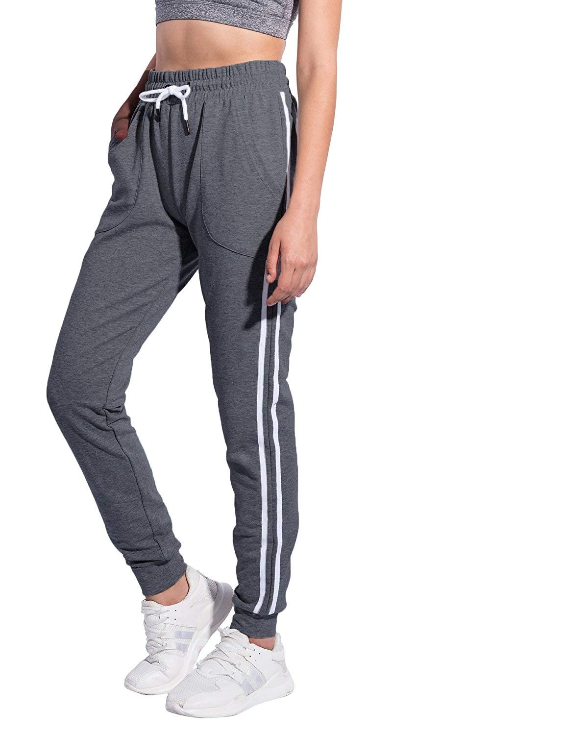 SUNNYME Women's Sweatpants Joggers Pants Drawstring Slim Fit Trousers With Pockets Dark Grey 4 M