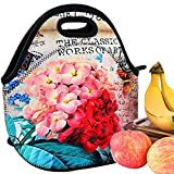 iColor Nice Flower Neoprene Lunch Bag, Kids Thermal Lunch Tote Bag, Lunch Box & Food Container, Insulated Soft Lunchbox, Food Storage Cooler - Great Gift for Boys,Girls (HST-LB-149)