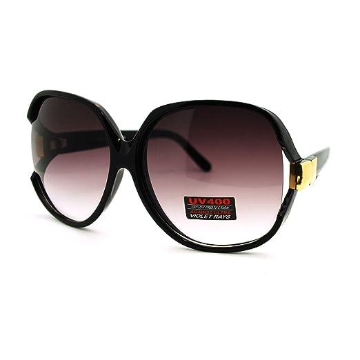 085d29d07b36 Amazon.com  Black Super Oversized Sunglasses Womens Classic ROUND ...