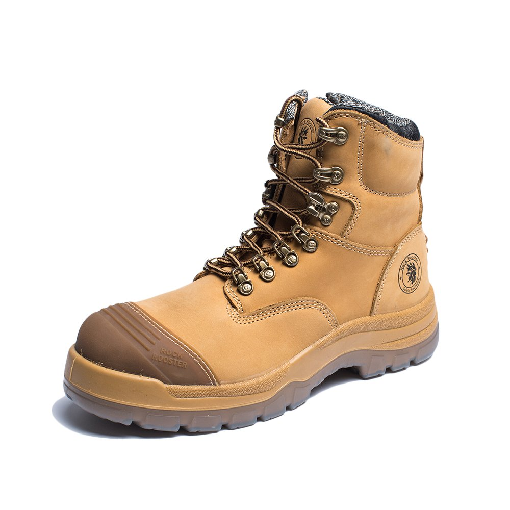 ROCKROOSTER KIMBERLY Men's Work Bootswith Water Resistant Nubuck Leather Safety Slip-resistant Boots AK232Z