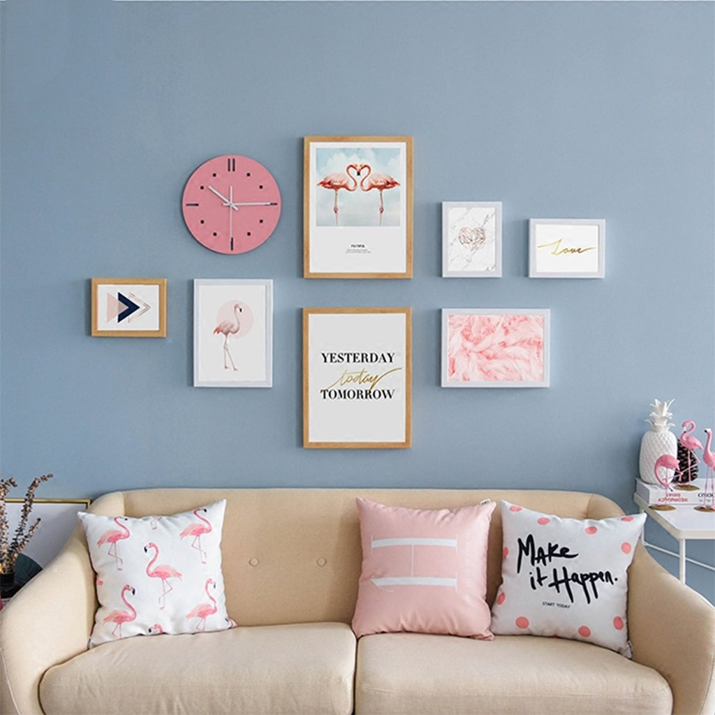 LQQGXL 7 boxes of solid wood wall decoration children's room creative combination of fresh photos Photo frame ( Color : B )