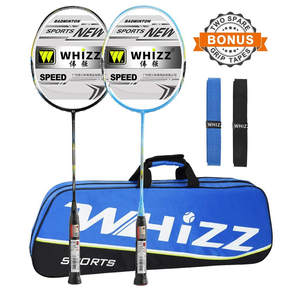 Whizz 2 PCS Full Graphite Frame and Shaft Badminton Racket Set, Badminton Bag / 2 Grip Tapes Included (Black+Blue)