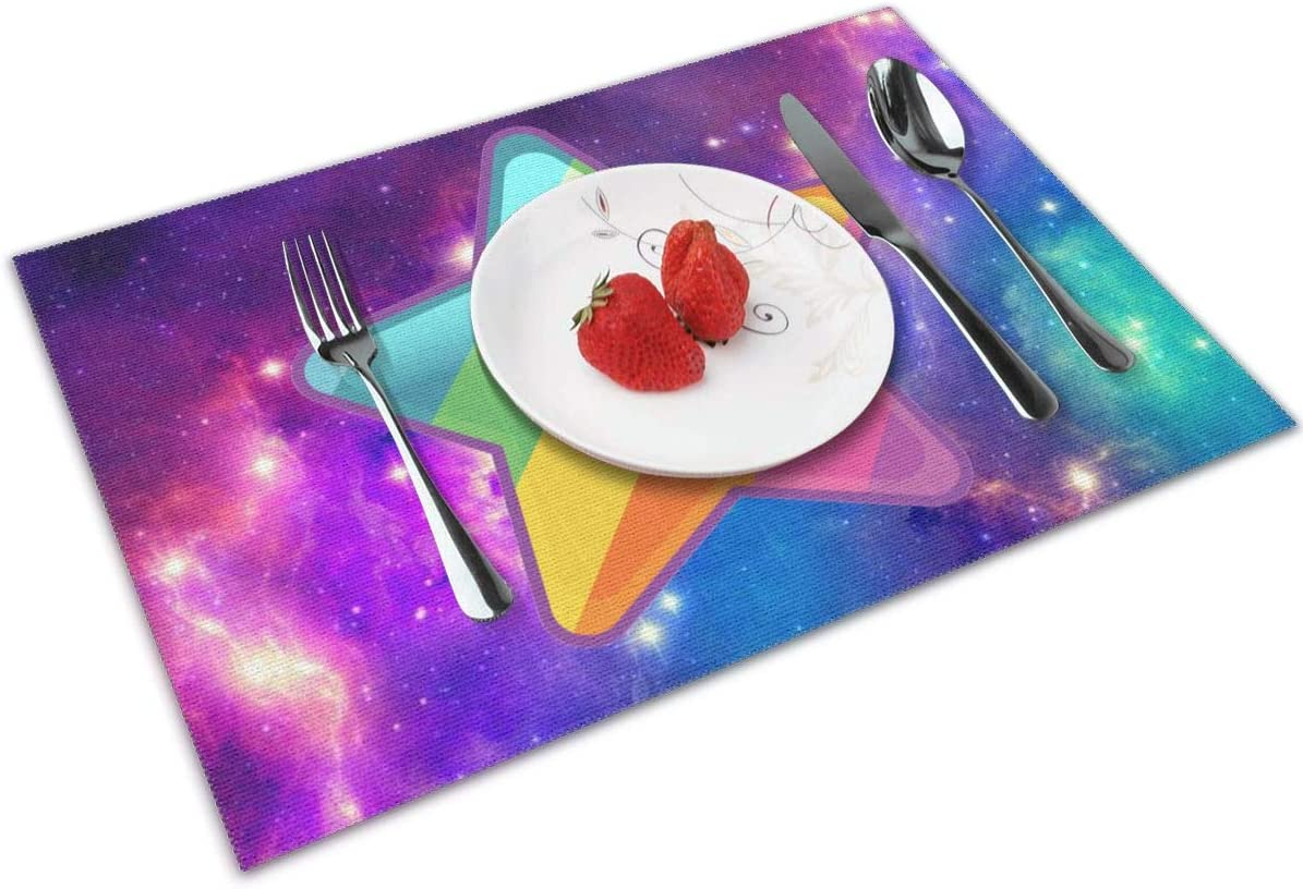 Amazon Com Suitson Galaxy Space Star Colorful Cute Star Placemats Set Of 4 For Kitchen Dining Table Washable Non Slip Heat Resistant Kitchen Table Mats Easy To Clean Home Kitchen