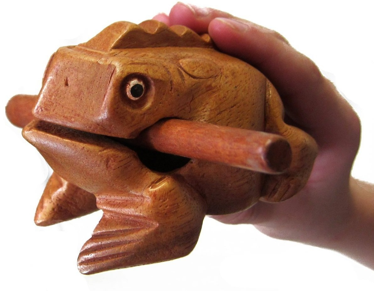 GPCT [Wooden Frog] Croak Guiro Toy. 4 Inch Medium Size, Sophisticated Craftsmanship, Croaking [Loud Sound] Frog Percussion Instrument- (Mango Wood)