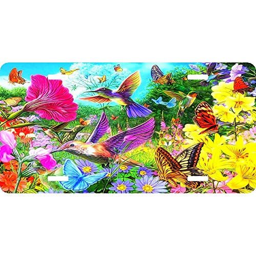 - Colorful Spring Collage Butterflies Flowers Birds Personalized Novelty License Plates, Custom Decorative Front Car Tag for US Vehicles, 12 x 6 Inch