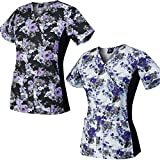 Medgear 2-Pack Slim Scrub Printed Tops with Knit Side Panels & 2 Pockets (M)