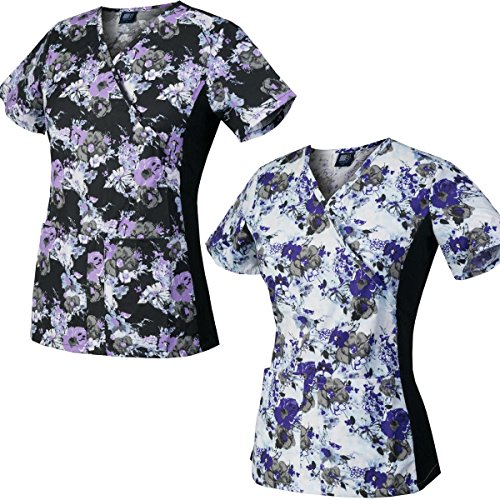 (Medgear 2-Pack Slim Scrub Printed Tops with Knit Side Panels & 2 Pockets (2XL))