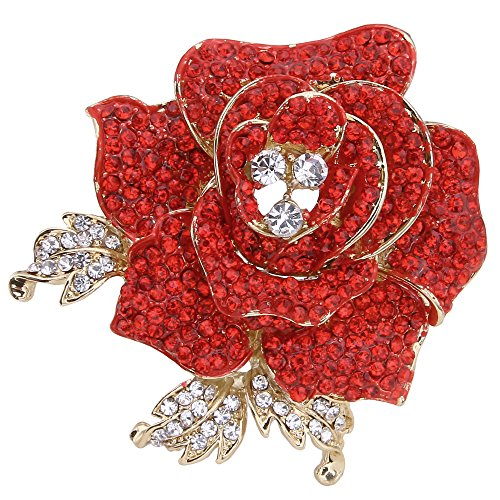 - EVER FAITH Women's Austrian Crystal Blooming Beautiful Rose Flower Brooch Red Gold-Tone