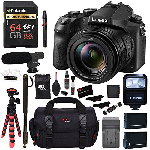 Panasonic LUMIX DMC-FZ2500 Digital Camera 4K Video, Polaroid 64GB Memory Card, Microphone, Monopod, Flash, Ritz Gear Case, 2 Batteries, Charger, Ritz Gear Tripod, Cleaning Kit and Accessory Bundle