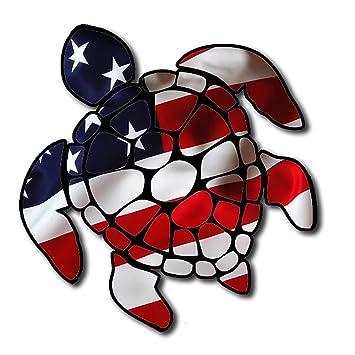 Sea turtle american flag america u s turtle sticker decal for car made in the u s a