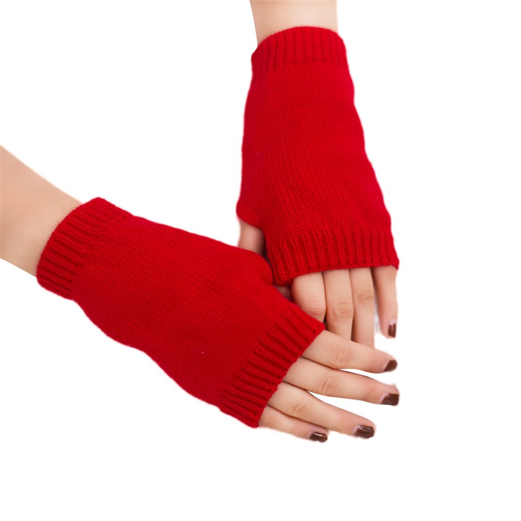 Colorido Women Winter Candy Color Half-finger Mitten Warm Keeper Gloves size Regular (Red)