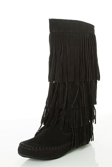 Amazon.com | Mudd 55 Womens 4 Layer Fringe Moccasin Mid-Calf Boots ...