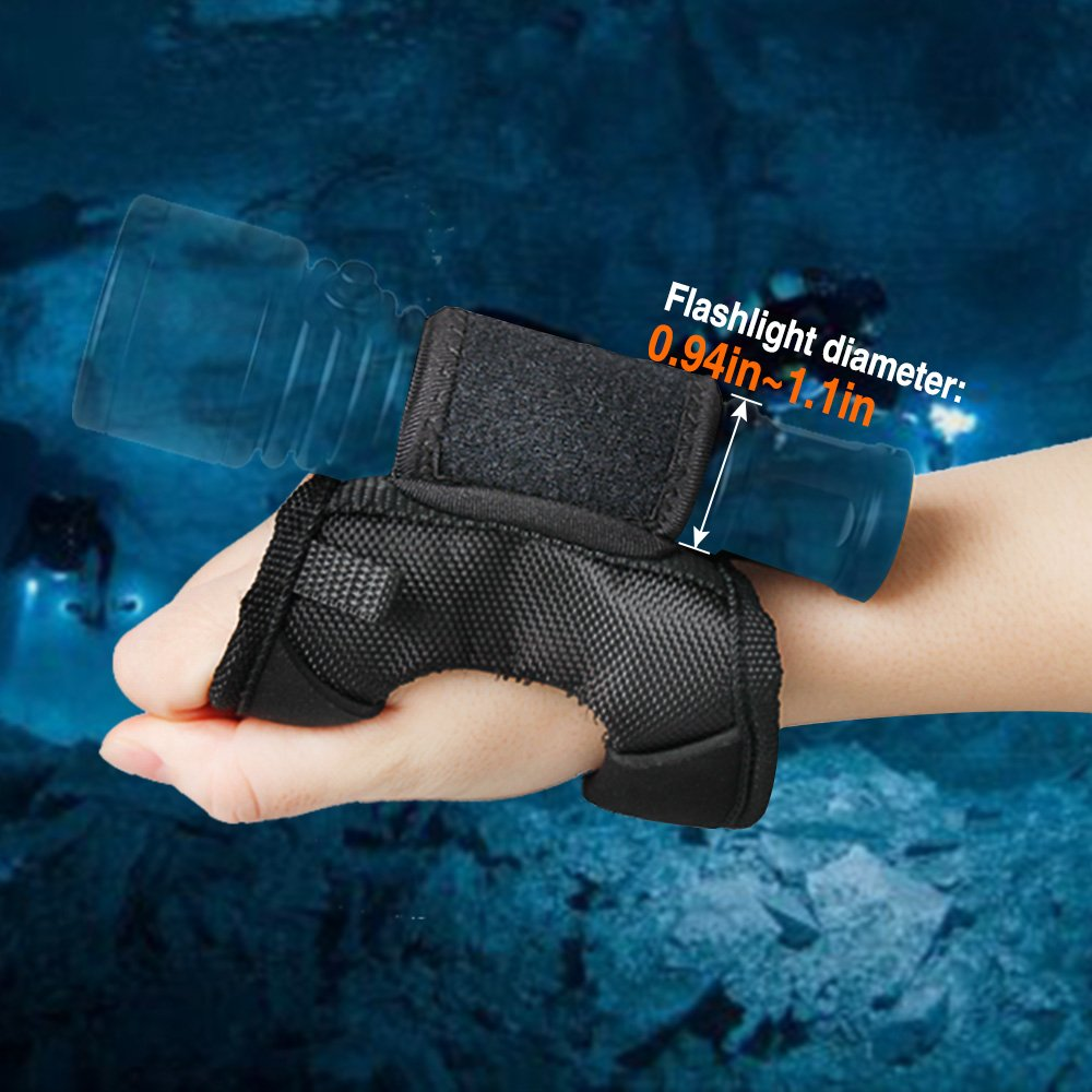 ORCATORCH Diving Flashlight Glove Hands-Free Flashlight Holder Universal Adjustable Wrist Strap Scuba Dive Lights Accessories