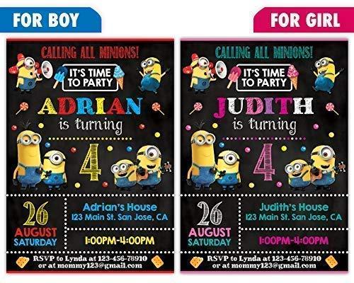 Custom Minions Birthday Party Invitations for Boy or Girl, 10pc-100pc 4