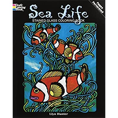 DOVER PUBLICATIONS Stained Glass Color Book Sea Life (264920): Llyn Hunter: Office Products