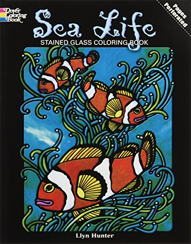 DOVER PUBLICATIONS Stained Glass Color Book Sea Life (Life Stained Glass)
