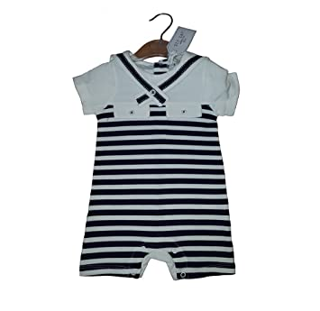 0bf2ec5c3 Striped Baby Boys Navy and White Sailor Romper 6-9 Months  Amazon.co ...