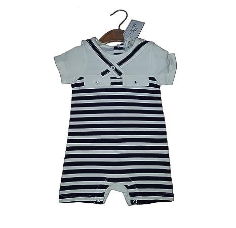 Pelele de bebé Niños Azul Marino y Blanco Marinero A Rayas 3 – 6 meses
