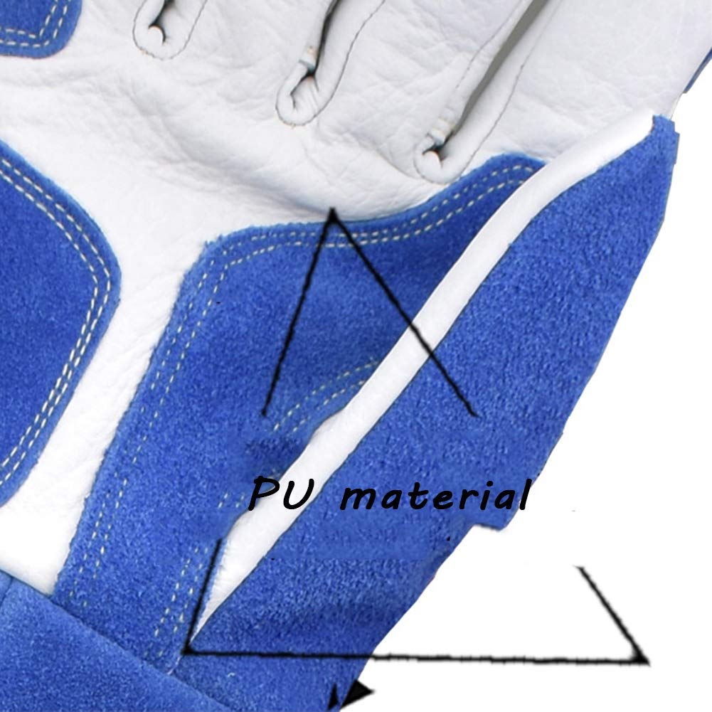 LAIABOR Welding Gloves Longer Extreme Heat fire Resistant with Kevlar Stitching Heavy Duty Welders Gauntlet Lined Fireplace Grill BBQ Animal handling Gardening Wood,BlueAsh by LAIABOR (Image #6)