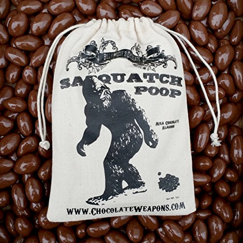 Chocolate BIGFOOT Poop Sasquatch Poo (Milk Chocolate Covered Almonds) in Vintage Cotton Bag (Buck, Elk, & Reindeer available)