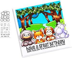 Animal Party Silicone Clear Stamp and Die Sets for Card Making, DIY Embossing Photo Album Decorative Craft