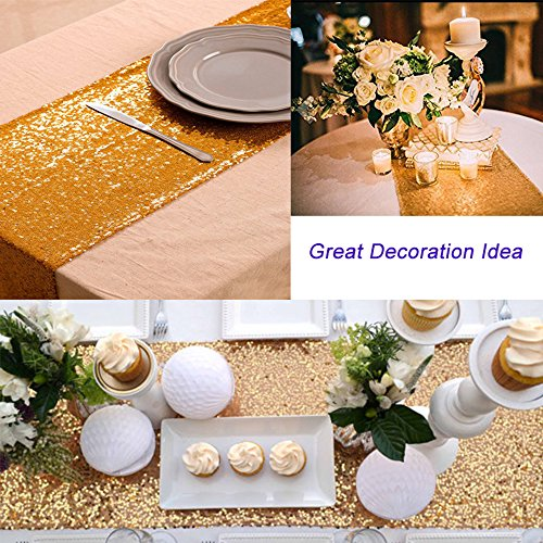 LGHome Wedding Table Runner Gold Glitter Sequin Kitchen Table Linens 12 by 72inch for Wedding Baby Shower Decoration Pack of 12
