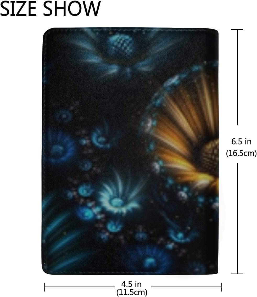 Fractal Flowers Abstract Leather Passport Holder Cover Case Travel One Pocket