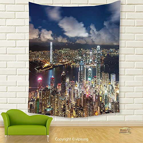 Vipsung House Decor Tapestry_Cityscape Night View Hong Kong Victoria Harbor Business Financial District Cityscape Print Decor Multi Color_Wall Hanging For Bedroom Living Room (Financial District Halloween)