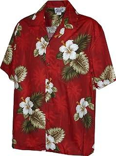 Made in Hawaii Hawaiian Aloha Shirt White Hibiscus with Palm and Taro Leaves Black