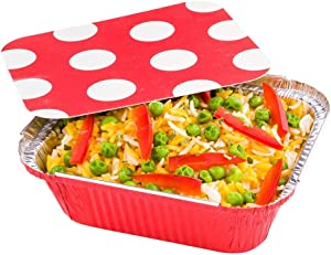 12 oz Rectangle Red Aluminum Take Out Container - Polka Dot Paper Lid - 5 3/4