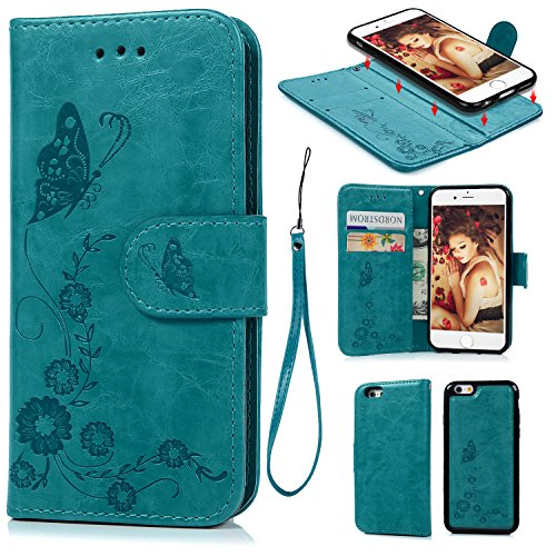 iPhone 6 6S Wallet Case, iPhone 6 6S Case PU Leather Embossed Mandala Florals TPU Cover Magnetic Detachable Wallet Card Slots Wrist Strap Case for iPhone 6 6S 4.7 inch (Embossed Butterfly)