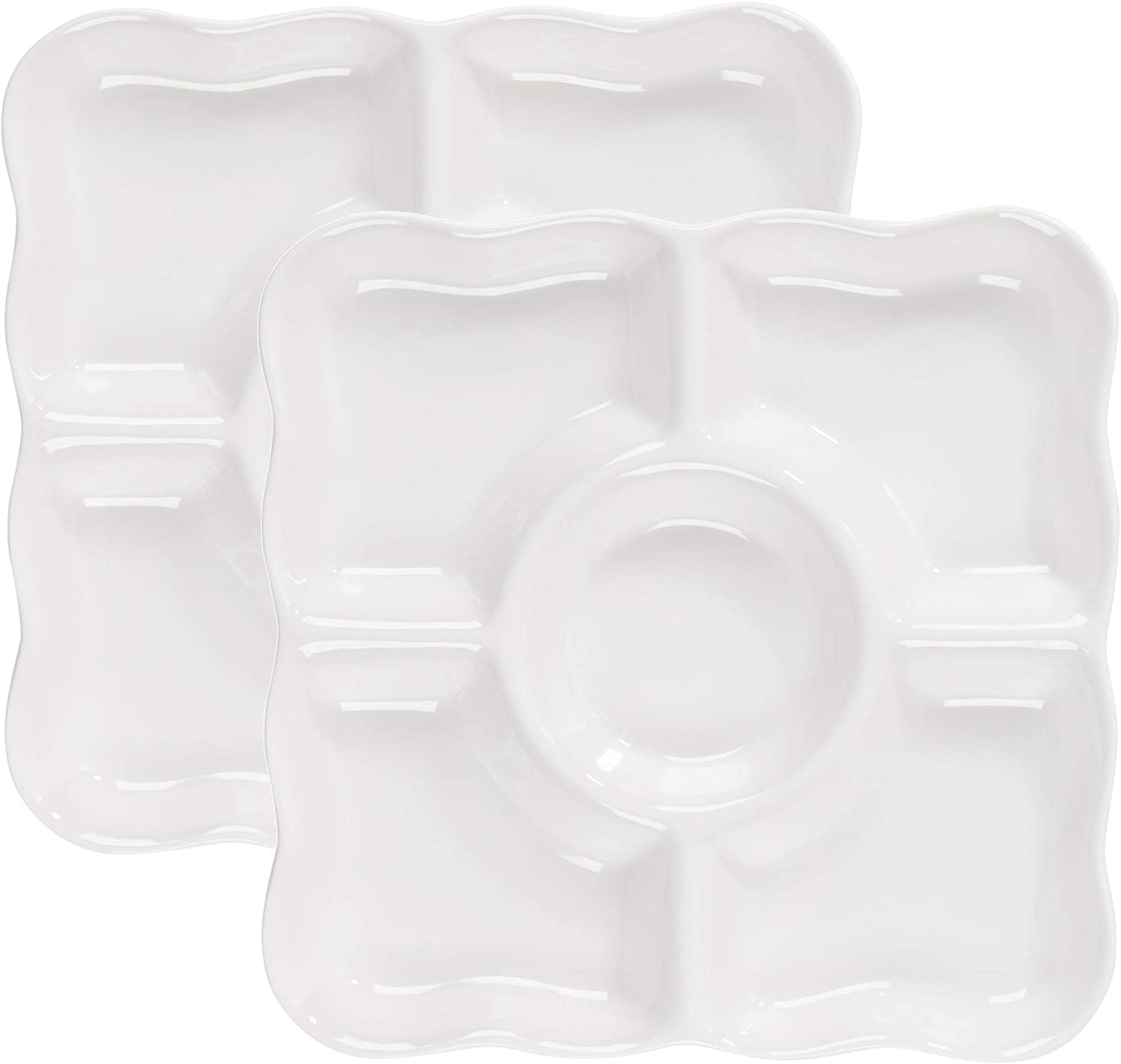 2-Pack Porcelain Appetizer Serving Tray - 5-Compartment Square Divided Serving Platter with Scalloped Rim for Parties, Chips & Dip, Snacks - 9.5 x 9.5 x 1 Inches, White