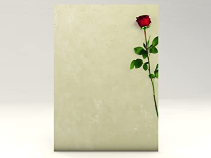 amazon com red rose 20 sheets high quality stationery letter paper