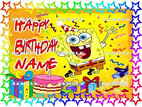 SPONGE BOB SQUAREPANTS :Personalized edible Birthday Cake topper premium frosting sheets -