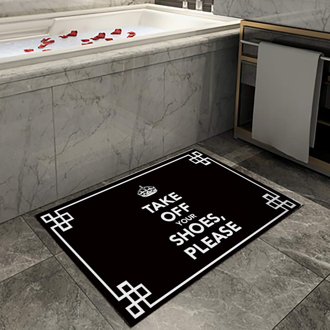 Black Please Take Off Your Shoes Family Decor Doormat Indoor Rubber Non Slip Entrance Way Welcome Door Mat for Bathroom//Kitchen//Front Door Waterproof Absorb Area Rugs Floor Runner Carpet