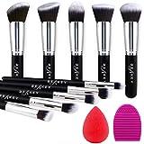 BEAKEY Makeup Brush Set, Premium Synthetic Kabuki Foundation Face Powder Blush Eyeshadow Brushes Makeup Brush Kit with Blende