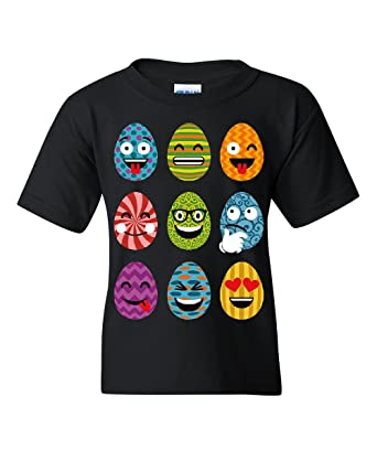 amazon com easter eggs emoji youth t shirt funny smiley faces