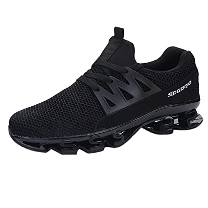 570a1c8af82ef AIMTOPPY Men's Fashion Lace Casual Sneakers Mesh Breathable Running Shoes  (US:7.5, Black)