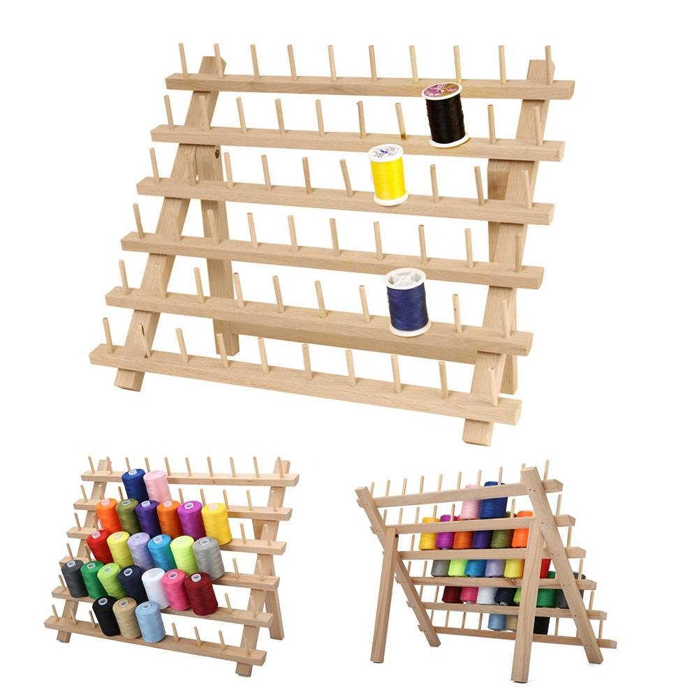 Househome Porte-fil Support en bois, 60 porte-bobines Organisateur de fil Support mural pour cô ne pliable, organisateur de couture pliable. Support pour support de rangement pour bobine de fil en hê tr