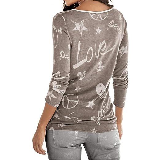 ... Women de Manga Larga Letra Impresa Camisa de Amor Impresišn de Perforacišn Caliente SušŠter de Ocio Cien Camiseta Superior: Amazon.es: Ropa y accesorios