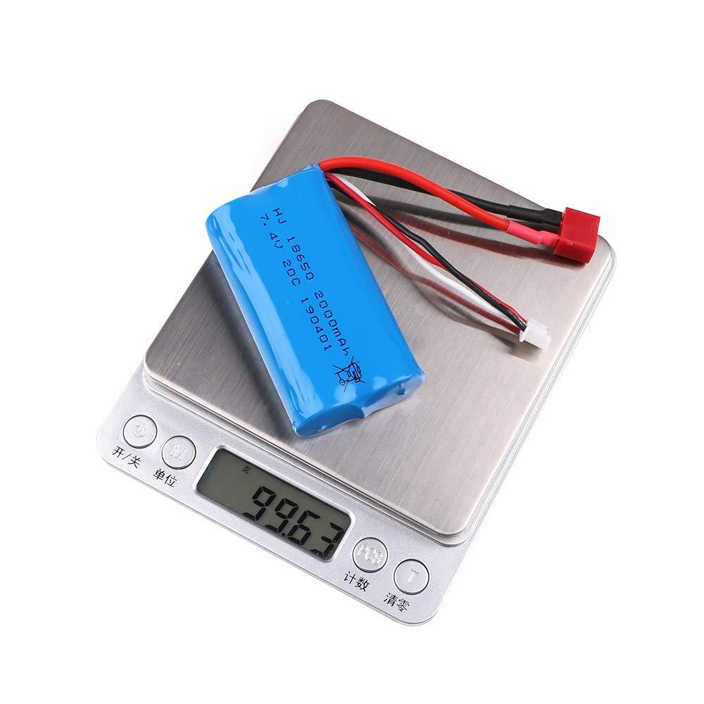 Crazepony-UK 2s Battery 7.4V 2000mAh Batteria 20C T Plug Connector ...